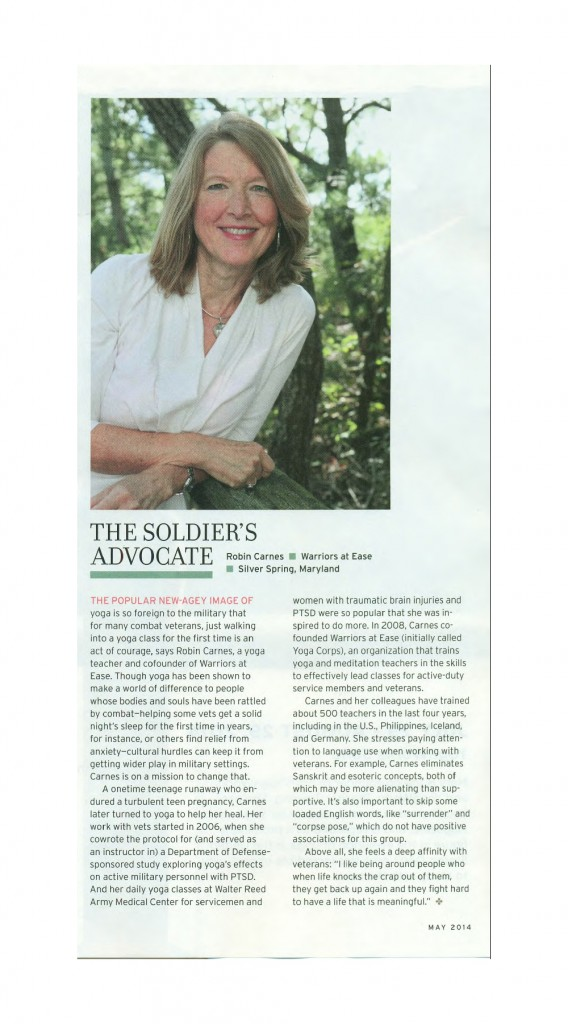 Robin Carnes, Executive Director of Warriors At Ease, featured in the article, The Soldier's Advocate in Yoga Journal, May 2014